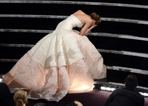 peetatoast:   Jennifer Lawrence reacts after winning the Best Actress award  This picture is gonna be so iconic.