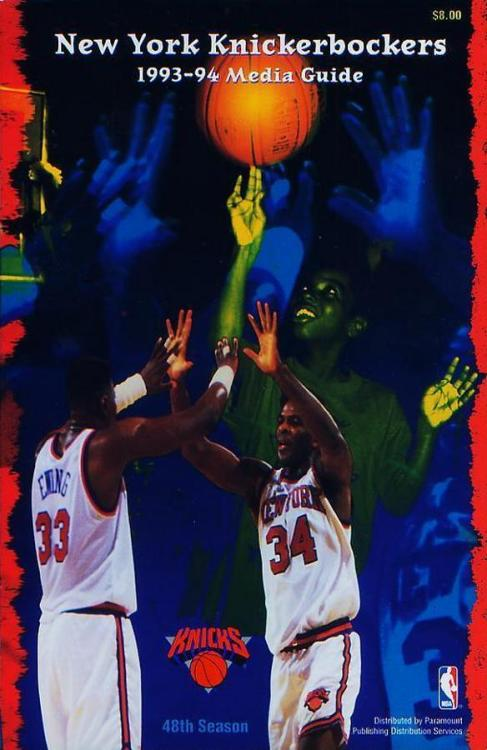 upnorthtrips:  Trapped In The 90s: New York Knicks Media Guides (1991-1999)    1991-92 was a weird, ugly time. Photoshop was around for only a couple of years.