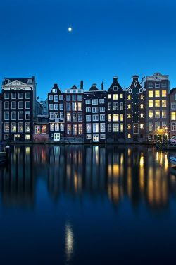 night europe p holland Canal Amsterdam The Netherlands Netherlands North Holland
