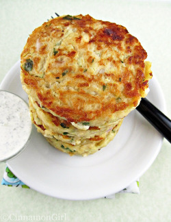 Zucchini Feta Fritters with Tzatziki Sauce by ~CinnamonGirl on Flickr.