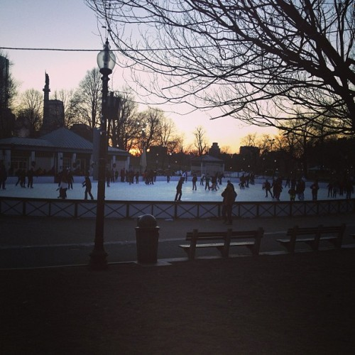 Boston sunset ice skating. #iceskating #sunset