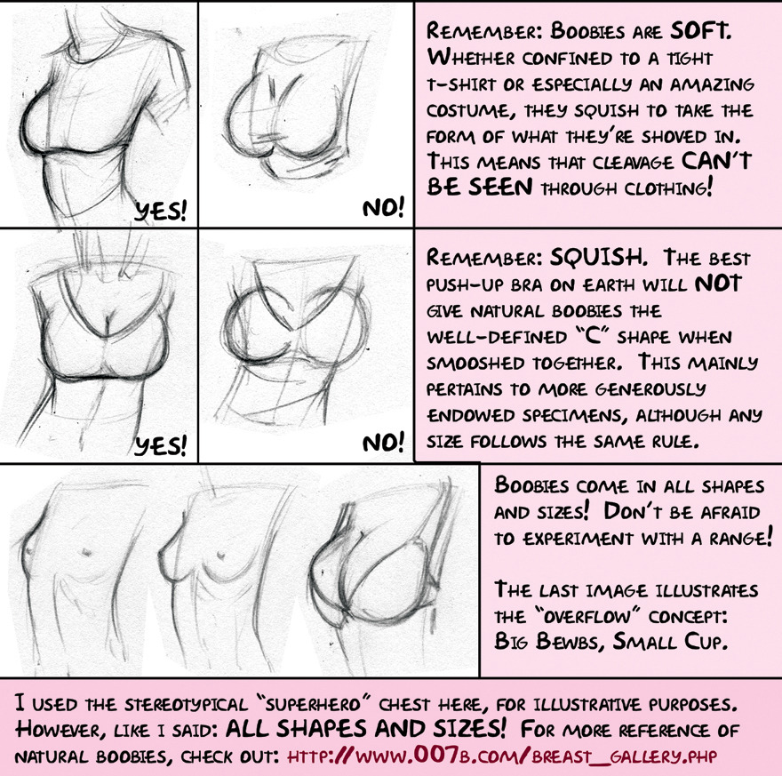 bratwurstp0rn:  gaysealapproves:  I found this nice tutorial/anatomy advice spread created by meghanhetrickof deviant art.  She gave me permission to post it up here to share so go make sure to visit her and look at her other creations of goodness!   yes yes yes and yes  boobs sag deal with it  gravity is a thing