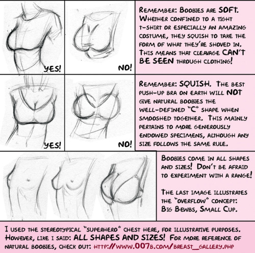 funisawful:  bratwurstp0rn:  gaysealapproves:  I found this nice tutorial/anatomy advice spread created by meghanhetrickof deviant art.  She gave me permission to post it up here to share so go make sure to visit her and look at her other creations of goodness!   yes yes yes and yes  boobs sag deal with it  gravity is a thing  I'll draw boobies how ever I want~~~~~~~~~~~~~
