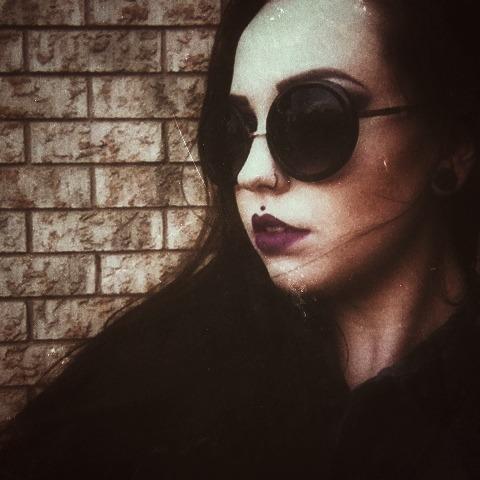 black darklipstick purple lipstick roundglasses medusa girlswithpiercings girls with plugs longhair selfie model alternativemodel chelcunningham piercings tattoos girlswithink girlswithtattoos plugs spacers inked InkedMag inked girls dark grunge fashion grunge fashion goth