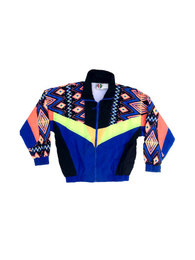 Stunning 1980s London Fog Neon Aztec Windbreaker - $125