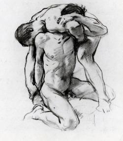 artist-sargent:  Male Nudes Wrestling, John Singer SargentSize: