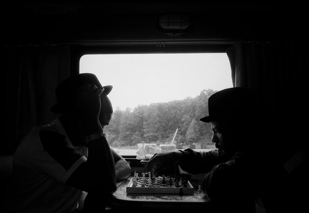 Run DMC on the road between Virginia and New York, 1986.  By Eli Reed.