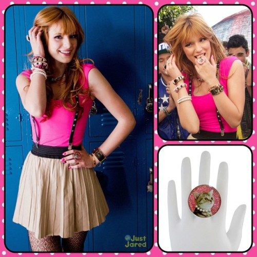 Disney Channel star Bella Thorne from Shake it Up was spotted wearing our Granny Cat Ring on the set of the IM5 music video shoot💗 #locketship #ring #cat #bellathorne #disneychannel #IM5 #justjared #shakeitup #cecejones #cantstayaway