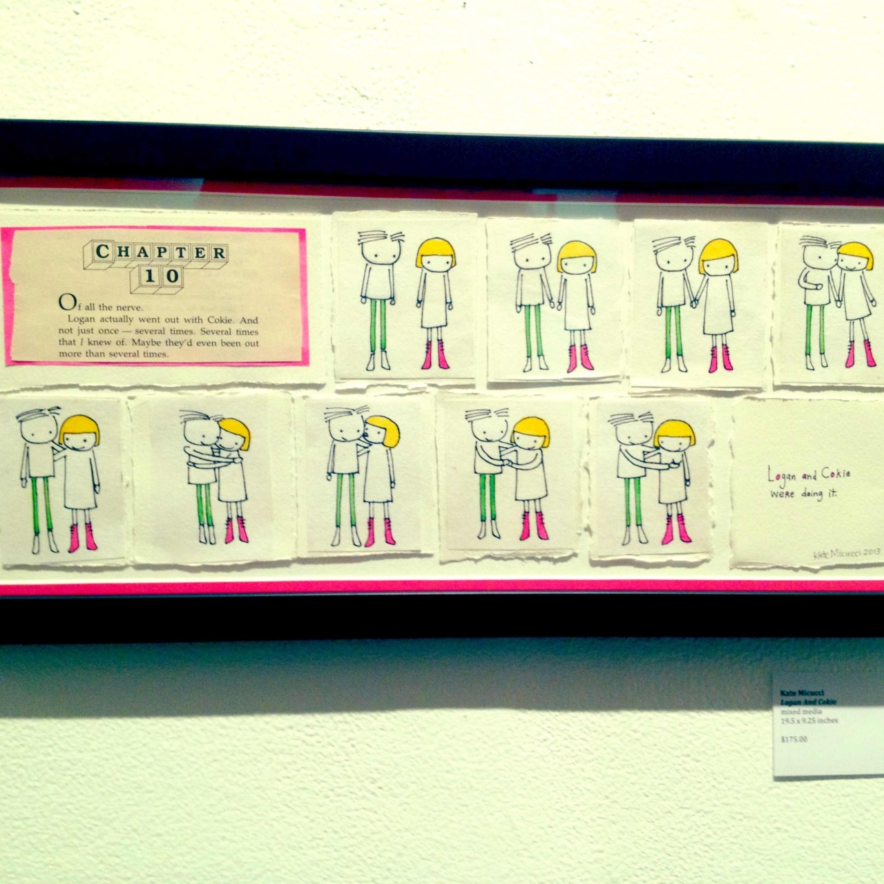 Last night was the opening of the HelloGiggles art show at Gallery 1988.  The show is called Young Adult and is based on teen novels from the 80s and 90s.  My piece is called Logan and Cokie and is based on a Baby-Sitter's Club book.  The show runs until February 23 at Gallery 1988 Melrose in Los Angeles.