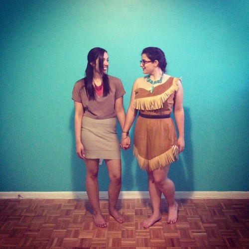 Me in my homemade Pocahontas costume with my bff in a disneybound style Nacoma outfit