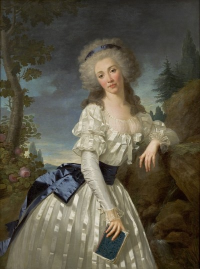Portrait of a Lady with a Book, Next to a River Source, by Antoine Vestier, 1785 I just can't resist the sheer stripey silk goodness of her gown. Brilliant.