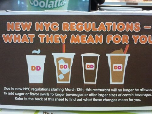 This is what has happened in new york dunkin doughnuts, because of a ban on large sugary drinks put in place, without a real vote or anything, by the mayor, larger than i think 16 or 20 ounce drinks will be unsweetened and you'd have to add your own flavor shots or sugar, or they'd be fined by the city. Health things aside, I dislike bans on things just put into place without any choice. The mayor here has been just passing basically edicts for three terms (yes three even though the term limit laws were supposed to stop at two) on all kinds of things, trying to force people to be healthier by law. I'm a big fan of free will, where the person has the choice to do better or not. I'm also a big fan of these things being put to a vote, at least in the city council, just someone to debate the pros and cons about it, not just someone telling you that you can't get something you want because it's bad for you. Everyone knows that big sugared drinks are bad for you, and if you want to make a shitty choice, you should be able to.  rant over