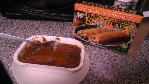 A review: Amy's Dairy Free-Gluten Free Enchilada Well, turns out I had bronchitis. Got put on some antibiotics yesterday, and by this evening finally felt human enough to venture out to the grocery store. I hadn't really ventured into the frozen foods aisle to see the options for my dietary resolution yet, and doubted the existance of DF and GF options. Luckily there were plenty!  Amy's Enchiladas were my choice for dinner tonight. They (obviously) look nothing like the box, and as they cooked smelled slightly of cardboard. The taste was average at best. Spicy-ish, but not enough to excise the mucus from my sinus infected head. Overall I'd give them a 6/10. I also picked up some GF/DF eggos I'm going to try out for breakfast tomorrow. I'm slightly cheating with a sugar free syrup, because it was cheap and I have bad reactions to the copious amounts of sugar in most syrups. On a slightly related note, my boyfriend's highly nutritious dinner consisted of the following, which he ate right next to me:   Super jelly.