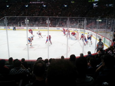 Last night I went by my country music lovin' boyfriend Carey Price's place of work, you know, just to check in. He had a bit of an off night, which is a pity, since he was doing so well for the majority of the game.