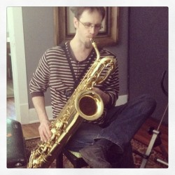 About to lay down some baritone #sax!    (at The Pink Mailbox)