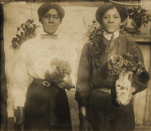 Two Women Holding Flowers Early 1900's [Reese Family Album] ©WaheedPhotoArchive, 2013