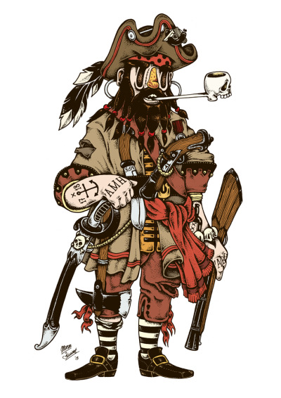 Here's the pirate king that I made for the Poopdeck project. He will be printed as a playing card and be part of a deck of cards. More info: http://www.poopdeckproject.co.uk/