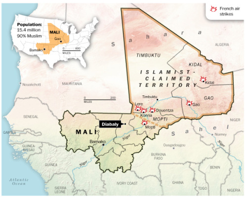 "In case you haven't been keeping a close eye on the Mali conflict, The Washington Post's Max Fisher has an extremely useful guide to what's going on. ""Mali, after all, has long been an obscure country to most Americans, little-known or -discussed even after its crisis began last year,"" he explains. ""But now that crisis is becoming more important. Some very bad people have taken over the entire northern half of a very big country. This weekend, the French military sent in troops and made bombing runs to halt the rebels' advance. More countries are talking about getting involved."""