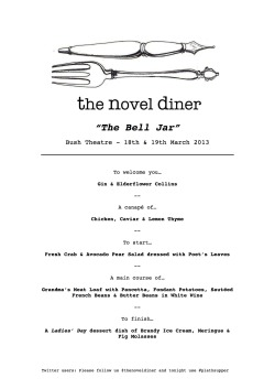 MENU ANNOUNCED FOR 'THE BELL JAR' NEXT WEEK.