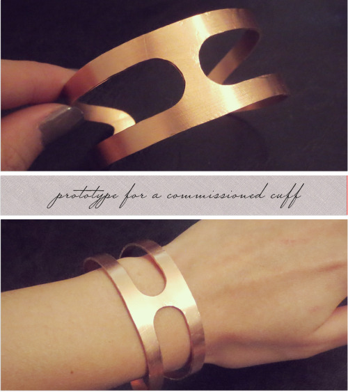 A friend wanted me to make this style of cuff for her in silver, since forever. Now that it's winter break, I can finally spend some time on fulfilling that promise.  I haven't made many cuffs in the past so I did a test on a piece of copper sheet first. It hasn't been polished completely yet, which explains the scuff marks. Hopefully she'll like it, so I can document how I make it from start to finish in silver… which will basically be a whole lot of sawing and filing!