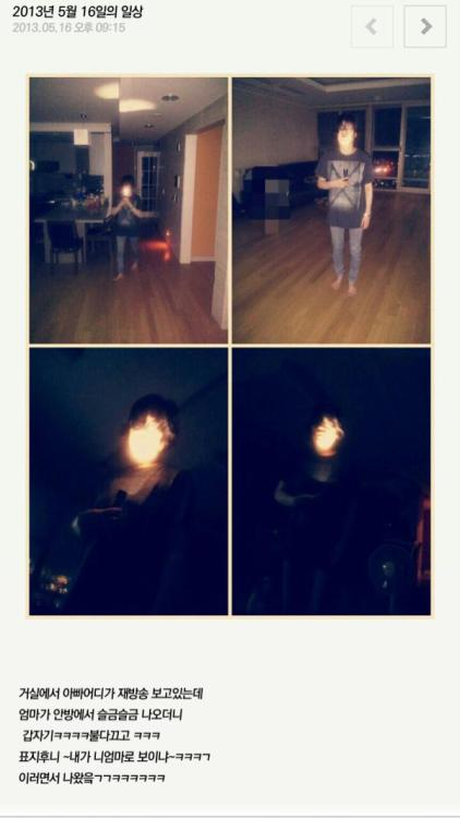 "[CYWORLD] 130516 P.O's update/photo TRANSLATIONI was watching a rerun of Where are You Going Dad,When my mom slowly came out of her roomAnd suddenly ㅋㅋㅋㅋ she turned off the all the lights and ㅋㅋㅋ ""Pyo Jihoonie~ Do I look like your mom to you~"" ㅋㅋㅋㄱShe came out like that ㄱㄱㅋㅋㅋㅋㅋㅋSource: P.O's Cyworld & BBC_b0tTranslation By:youngha@blockbintl"