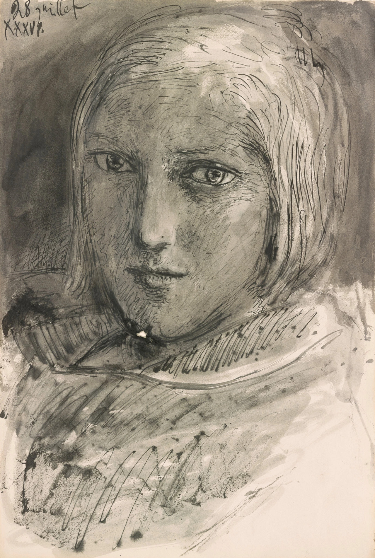 Pablo Picasso, Portrait of Marie-Thérèse Walter, 1936, Pen and black ink and wash