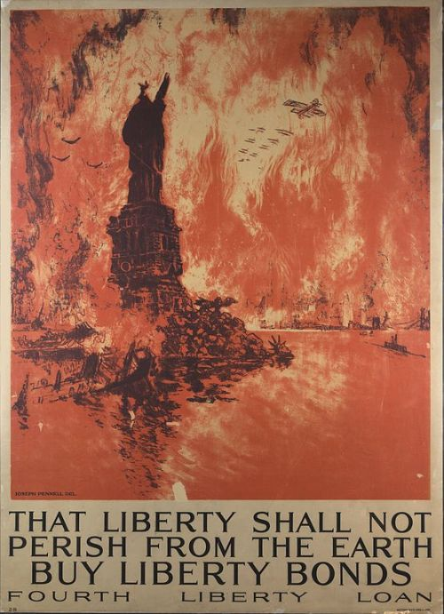 """That Liberty Shall Not Perish from the Earth"", American war bonds poster depicting New York, by Joseph Pennell, 1918."