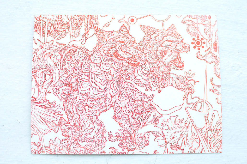 "James Jean letterpress postcard from his opening ""Parallel Lives"" at Jack Tilton Gallery."