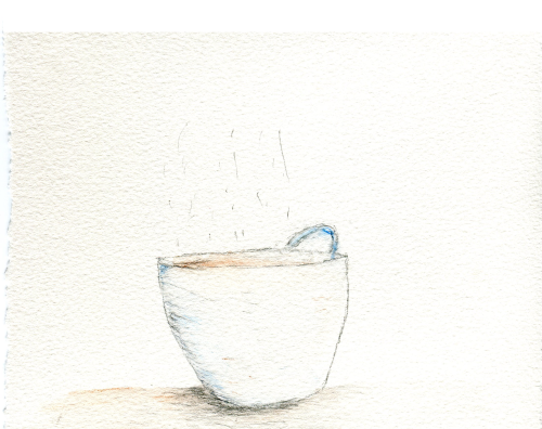 'Dainty Teacup' A doodle I did in IB Art with watercolor pencils and a 2B pencil.