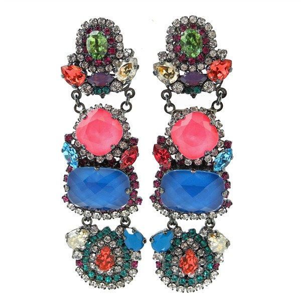 ERICKSON BEAMON  Modern Moghul swarovski crystal earrings by Erickson Beamon. This is our to die for accessory right now, Erickson Beamon's pieces are elegant and make a large statement when paired with casual silk slacks and a low v neck blouse or worn with an elegant dress and heels.  Shop them here