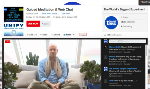 Global Webcast Guided Meditation Experience with 1 GIANT MIND Co-Founder Jonni Pollard. JOIN US HERE NOW https://new.livestream.com/1GiantMind/OWNambassadors