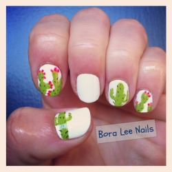 Nopal/Prickly Pear Cacti and Saguaro Cacti nails! Tutorial coming soon, y'all!