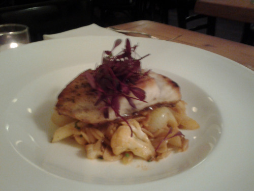 *Special* at the UWS tonight is roasted striped bass w lobster infused orzo, roasted cauliflower, asparagus & cipollini onions. $25