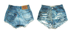 NEW: 3 pairs of bleached shorts with studded front!http://www.deathdiscolovesyou.etsy.com/