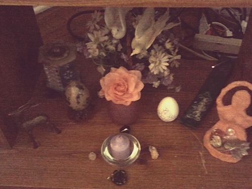 Found some more spring items around my house to add to my altar, my favorite being my marble egg that I bought when I was about 8 or 9.