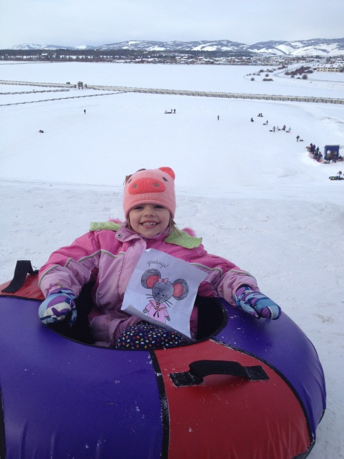 Mimi and Charlotte tubing in Winter Park, Colorado!