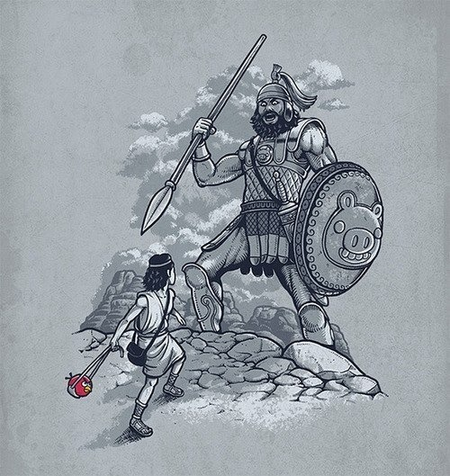 catholicmemes:  David & Goliath according to angry birds.