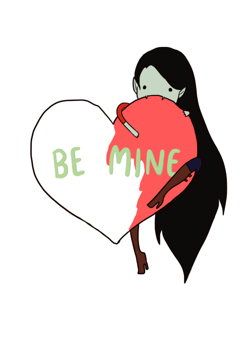 Valentine card of the day: Be Mine, Marceline lilydrawsart:  I've been pretty inspired by all the cute V-Day cards floating around the web-o-sphere lately that I couldn't help contribute a little more. Marceline loves Valentine's Day simply because there's so much red around her to eat. Yum yum. Forget your candy hearts, she just wants the red. ;)