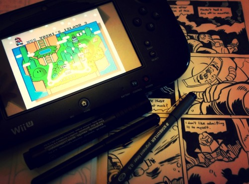 Working on new comics for TCAF while enjoying virtual console games on the Wii U gamepad.