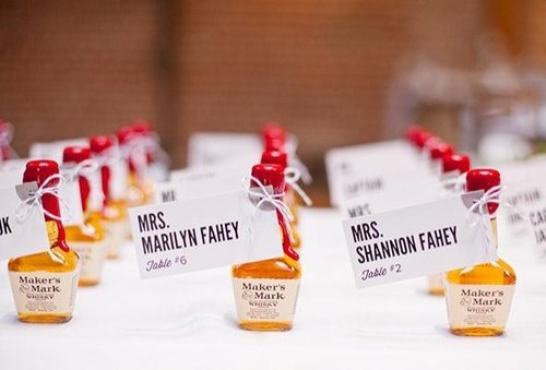 bridalsnob:  Mini liquor bottles as escort cards | photography by Annie McElwain Photography