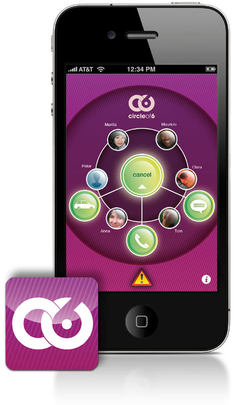 "Circle of 6 is an app designed to help young women quickly contact their friend group in potentially dangerous situations. It has everything from a ""bad date"" button (""Call me, I need an interruption"") to a notice that you need to be picked up with a GPS ping of your location."