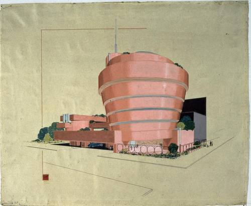 This image of the Pink Guggenheim designed by Frank Lloyd Wright is just one of the buildings in our list of The Most Spectacular Buildings That Were Never Built.