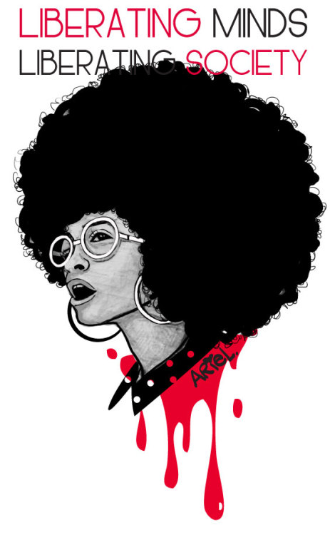 Liberating Minds, Liberating Society. Mixed media 2013. Angela Davis. by Keturah Ariel.