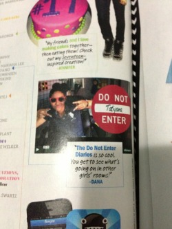 The Do Not Enter Diaries in Seventeen Magazine, April 2013.  ^ Thanks for the shout-out Seventeen! We film boys too though ;) :)