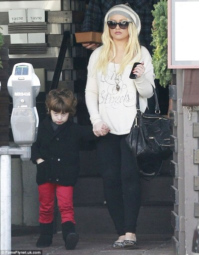 #notimpressedChristina Aguilera + her son Max in West Hollywood Thursday.