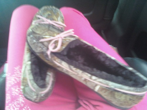 My camo moccasin slippers!