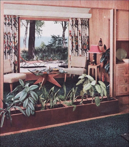 theniftyfifties:  A 1951 sitting room with a large mirror to give the illusion of space.