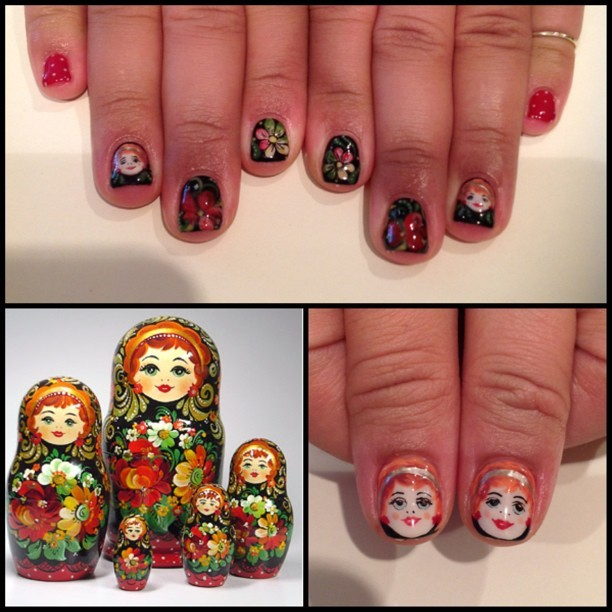 sujukbrooklyn:  Amazing #matryoshka nails on @dzaslavsky by @ciaomanhattan2012 #sujuknails #nailart #gelart #brooklyn #clintonhill (at Su'juk)