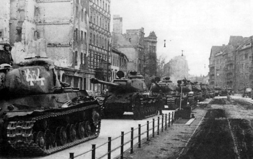 A Soviet IS-2 column on the streets of Berlin