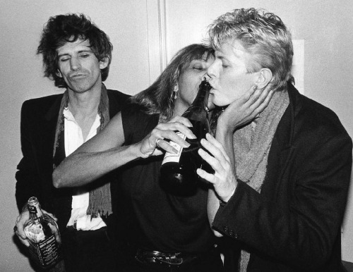 jivewired:  Keith Richards, Tina Turner & David Bowie, NYC 1983 Photo Credit: Bob Gruen